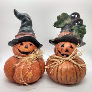 Pumpkin Witch Halloween Fall Harvest Pair Jack